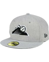 the latest 5f41a 04426 KTZ - Colorado Rockies Heather Black White 59fifty Cap - Lyst
