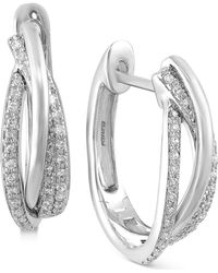 Effy Collection - Diamond Hoop Earrings (3/8 Ct. T.w.) In 14k White, Yellow Or Rose Gold - Lyst