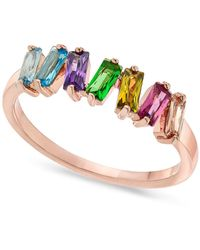INC International Concepts Inc Rose Gold-tone Multicolor Baguette-crystal Ring, Created For Macy's