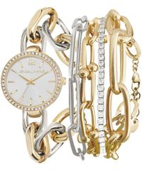 Kendall + Kylie Dainty Two-tone Silver And Gold Tone Chain Link Stainless Steel Strap Analog Watch And Layered Bracelet Set 40mm - Metallic