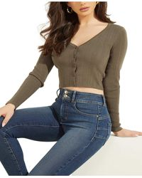 Guess Camille V-neck Cardigan - Gray