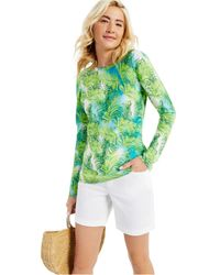 Charter Club Cashmere Tropical Print Long-sleeve Crewneck Sweater, Created For Macy's - Green
