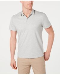 9bba6071 Lyst - Alfani Mesh-print 1/4-zip Polo, Created For Macy's in Gray ...