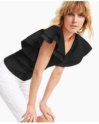INC International Concepts Inc Petite Ruffle-sleeve Top, Created For Macy's - Black