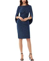 Betsy & Adam Metallic-knit Draped Sheath Dress - Blue