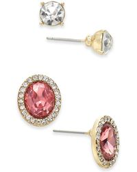 Charter Club Gold-tone 2-pc. Set Crystal Halo & Solitaire Stud Earrings, Created For Macy's - Metallic