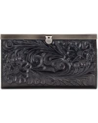 Patricia Nash Cauchy Tooled Leather Wallet - Black