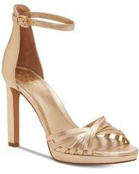 2af642ee549 Vince Camuto - Beresta Metallic Leather Platform Sandals - Lyst