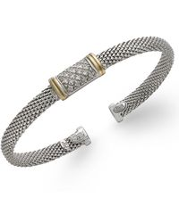 Macy's - Diamond Mesh Bangle Bracelet In 14k Gold And Sterling Silver (1/8 Ct. T.w.) - Lyst