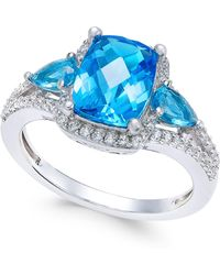 Macy's - Swiss Blue Topaz (2-5/8 Ct. T.w.) And White Topaz (1/4 Ct. T.w.) Ring In Sterling Silver - Lyst