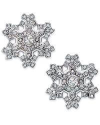 Charter Club Holiday Lane Silver-tone Crystal Snowflake Stud Earrings, Created For Macy's - Metallic