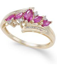Macy's - Certified Ruby (3/4 Ct. T.w.) & Diamond (1/10 Ct. T.w.) In 14k Gold - Lyst