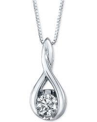 Macy's - Diamond Twist Pendant Necklace In 14k White Gold (1/5 Ct. T.w.) - Lyst