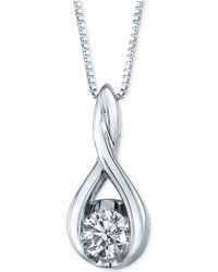 Sirena - Diamond Twist Pendant Necklace In 14k White Gold (1/5 Ct. T.w.) - Lyst