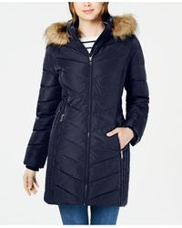 Tommy Hilfiger Petite Faux-fur Trim Hooded Water-resistant Puffer Coat, Created For Macy's - Blue