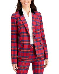 Charter Club Plaid One-button Blazer, Created For Macy's - Red