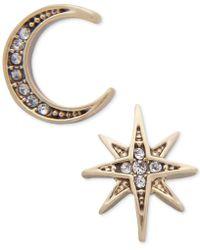 Lonna & Lilly Gold-tone Moon & Stars Mismatch Earrings - Metallic