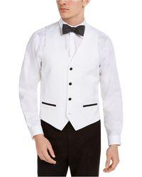 Alfani Slim-fit Stretch Black Tuxedo Vest, Created For Macy's - White