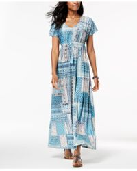Style & Co. Printed Drawstring Maxi Dress, Created For Macy's - Blue