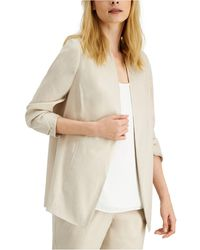 Alfani Ruched-sleeve Open-front Blazer, Created For Macy's - Natural