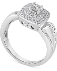 Macy's - Diamond Square Halo Bridal Set (5/8 Ct. T.w.) In 14k White Gold - Lyst