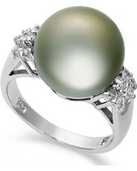 Macy's - 14k White Gold Ring, Tahitian Pearl (12mm) And Diamond (1/4 Ct. T.w.) Ring - Lyst