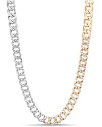 Steve Madden Two-tone Casted Stone Chain Necklace - Metallic