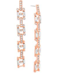 Steve Madden - Rose Gold-tone Crystal Square Link Drop Earrings - Lyst