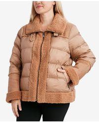 Tahari Plus Size Faux-fur-trim Puffer Coat - Multicolor