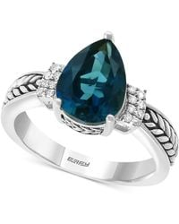 Effy Collection Effy® London Blue Topaz (3-1/10 Ct. T.w.) & Diamond Accent Ring In Sterling Silver