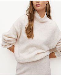 Mango Turtleneck Knit Sweater - Natural