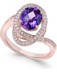 Macy's Amethyst (5/8 Ct. T.w.) & Diamond (1/3 Ct. T.w.) Ring In 14k Rose Gold - Multicolour