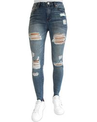 Almost Famous Juniors' Ripped High Rise Skinny Jeans - Blue