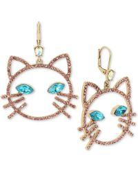 Betsey Johnson - Gold-tone Pavé & Stone Cat Head Drop Earrings - Lyst
