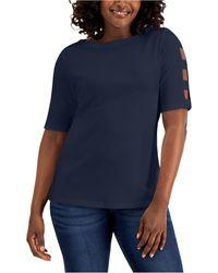 Karen Scott Petite Cotton Elbow-sleeve Boat-neck Top, Created For Macy's - Blue