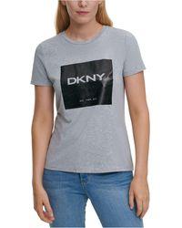 DKNY Metallic-logo T-shirt - Gray