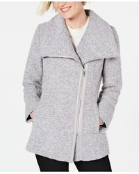 INC International Concepts Inc Asymmetrical Faux-leather-trim Coat, Created For Macy's - Gray