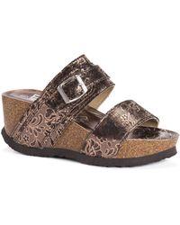 Muk Luks Emery Wedge Sandals - Brown