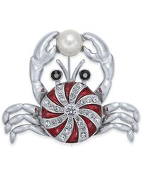 Charter Club Holiday Lane Silver-tone Crystal & Imitation Pearl Peppermint Crab Pin, Created For Macy's - Metallic