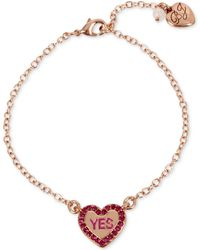 Betsey Johnson | Rose Gold-tone Pink Stone Candy Heart Ankle Bracelet | Lyst