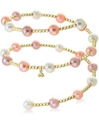 Effy Collection - Effy® White Cultured Freshwater Pearl (7mm) Coil Bracelet In 14k Gold (also In Multicolor Cultured Freshwater Pearl) - Lyst