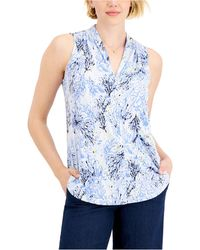 Charter Club Pleated-neck Sleeveless Top, Created For Macy's - Blue