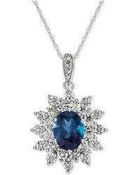 Macy's - Blue Topaz (1-1/2 Ct. T.w.) & Diamond (1/10 Ct. T.w.) Pendant Necklace In 14k White Gold - Lyst