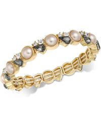 Charter Club | Gold-tone Crystal & Pink Imitation Pearl Stretch Bracelet | Lyst
