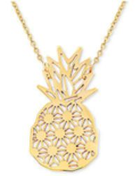 """Macy's - Pineapple 17"""" Pendant Necklace In 10k Gold - Lyst"""