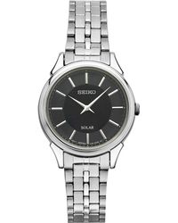 Seiko - Women's Solar Slimline Silver-tone Stainless Steel Bracelet Watch 27mm Sup343 - Lyst