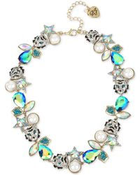 """Betsey Johnson - Two-tone Mixed Stone & Imitation Pearl Tiger Collar Necklace, 16"""" + 3"""" Extender - Lyst"""