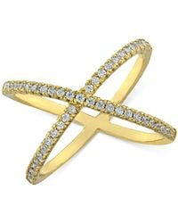Giani Bernini Cubic Zirconia Crisscross Statement Ring In Gold-plated Sterling Silver, Created For Macy's - Metallic