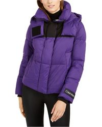 Calvin Klein Cropped Puffer Coat - Purple