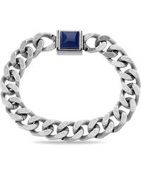 Steve Madden Simulated Lapis Square Station Curb Chain Magnetic Bracelet - Blue